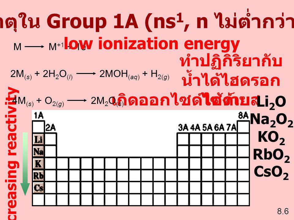 ธาตุใน Group 1A (ns1, n ไม่ต่ำกว่า 2)
