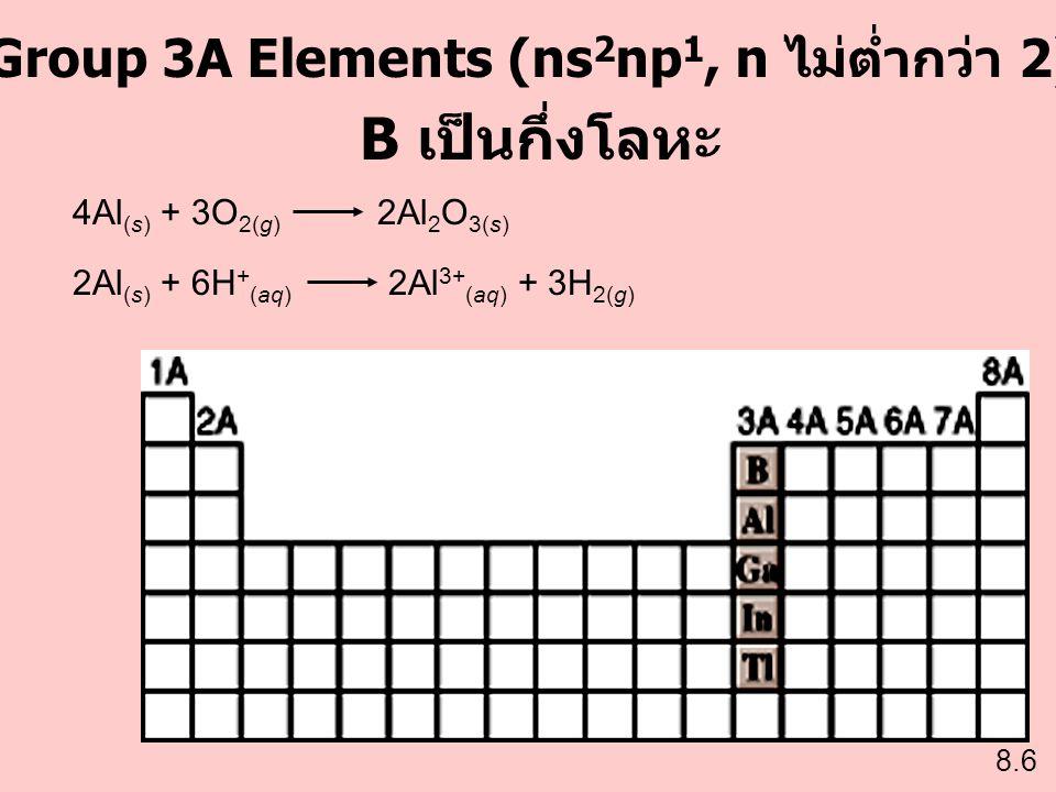 Group 3A Elements (ns2np1, n ไม่ต่ำกว่า 2)