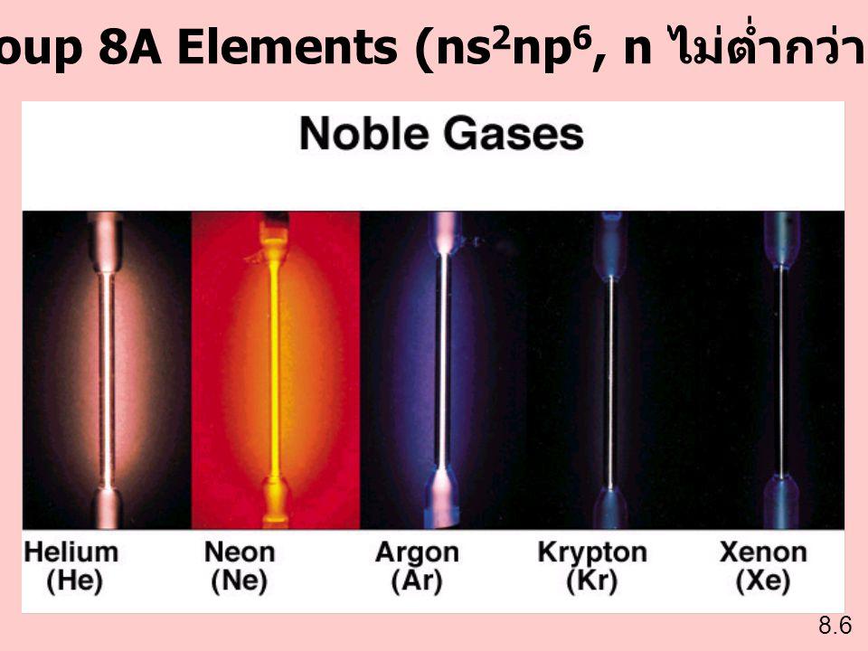 Group 8A Elements (ns2np6, n ไม่ต่ำกว่า 2)