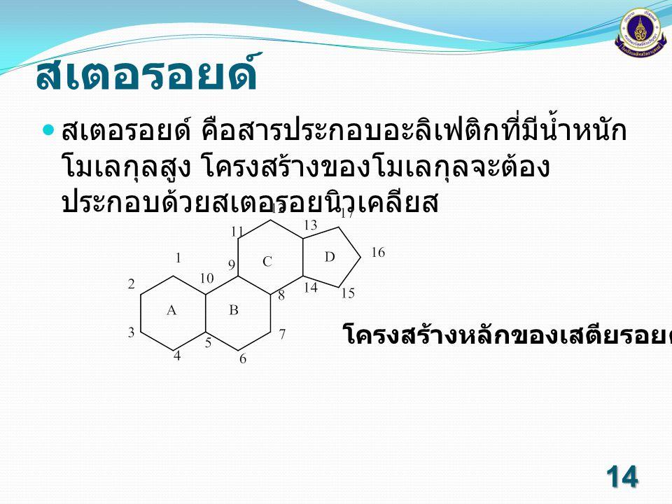 สเตอรอยด์ สเตอรอยด์ คือสารประกอบอะลิเฟติกที่มีน้ำหนักโมเลกุลสูง โครงสร้างของโมเลกุลจะต้องประกอบด้วยสเตอรอยนิวเคลียส.