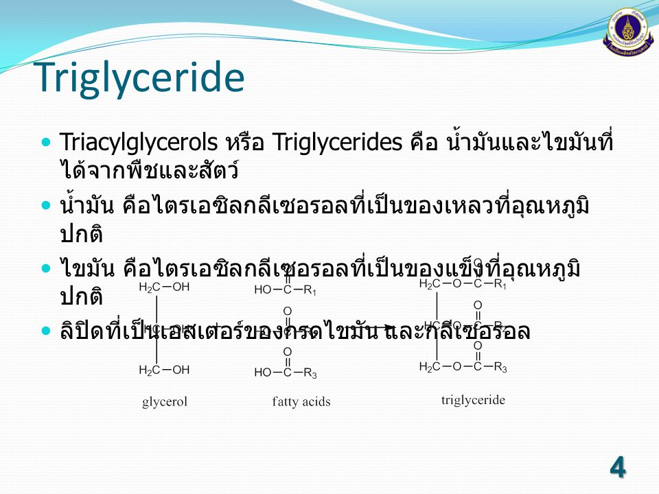 Triglyceride Triacylglycerols หรือ Triglycerides คือ น้ำมันและไขมันที่ได้จากพืชและสัตว์ น้ำมัน คือไตรเอซิลกลีเซอรอลที่เป็นของเหลวที่อุณหภูมิปกติ