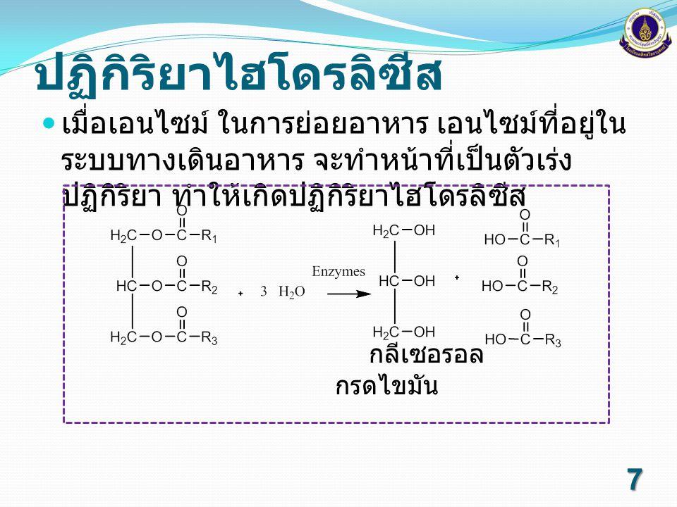 ปฏิกิริยาไฮโดรลิซีส เมื่อเอนไซม์ ในการย่อยอาหาร เอนไซม์ที่อยู่ในระบบทางเดินอาหาร จะทำหน้าที่เป็นตัวเร่งปฏิกิริยา ทำให้เกิดปฏิกิริยาไฮโดรลิซีส.