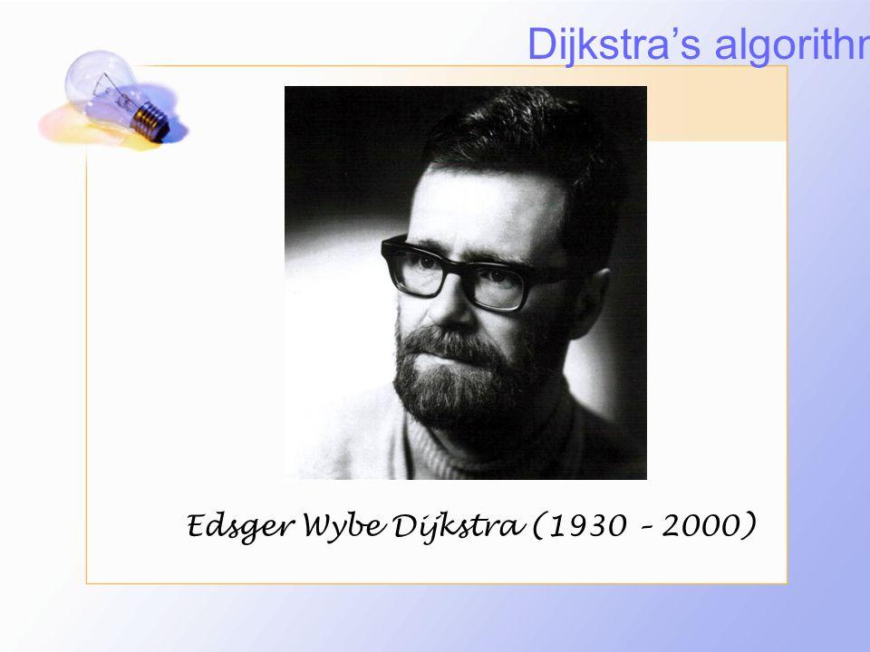 Dijkstra's algorithm Edsger Wybe Dijkstra (1930 – 2000)
