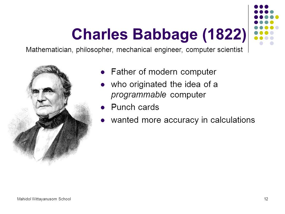 Charles Babbage (1822) Father of modern computer