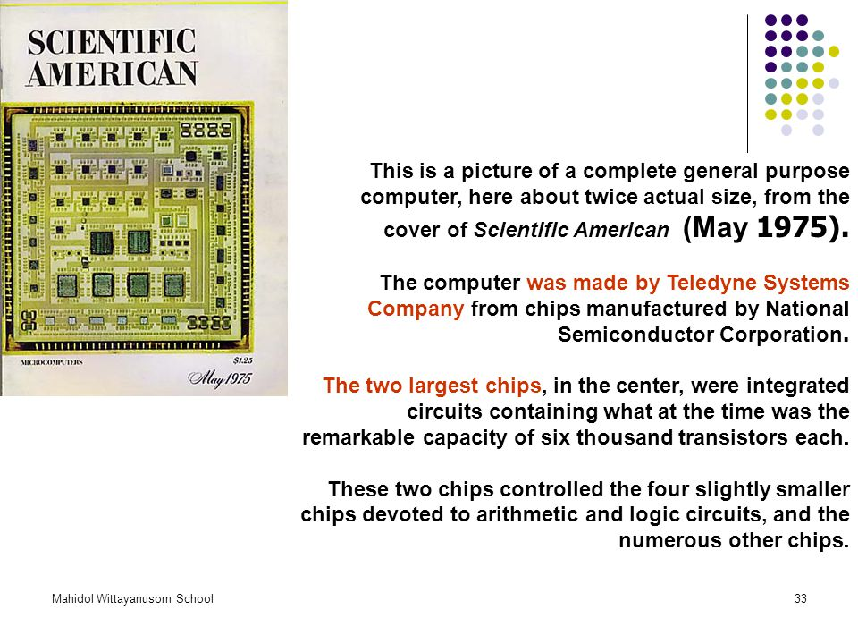This is a picture of a complete general purpose computer, here about twice actual size, from the cover of Scientific American (May 1975).