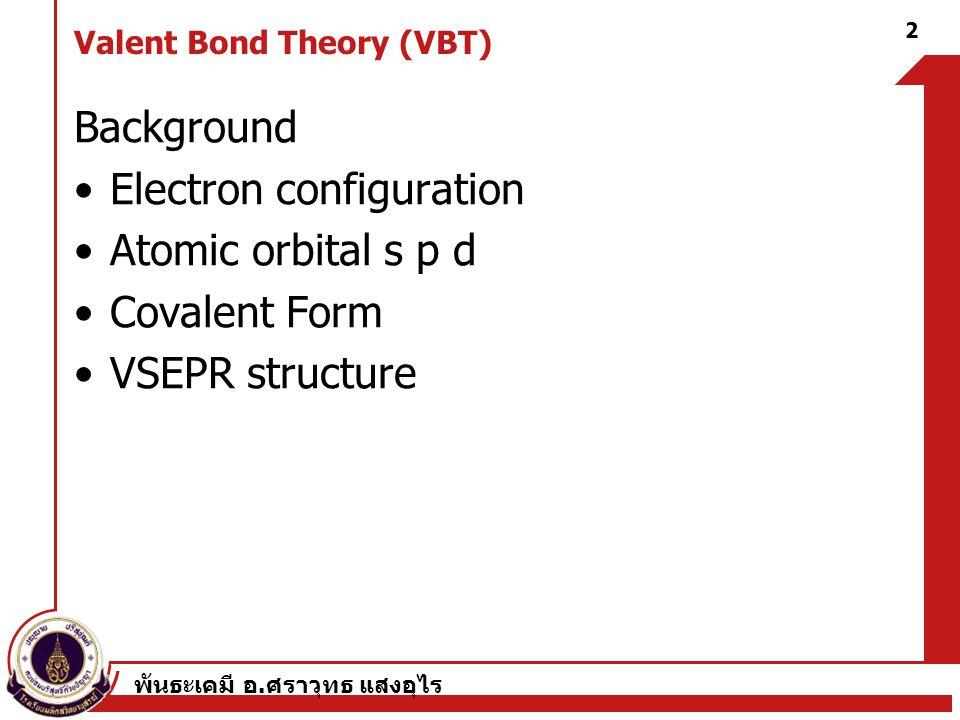 Valent Bond Theory (VBT)