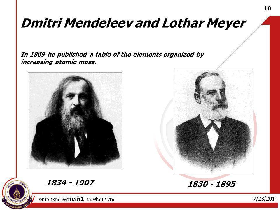 Dmitri Mendeleev and Lothar Meyer