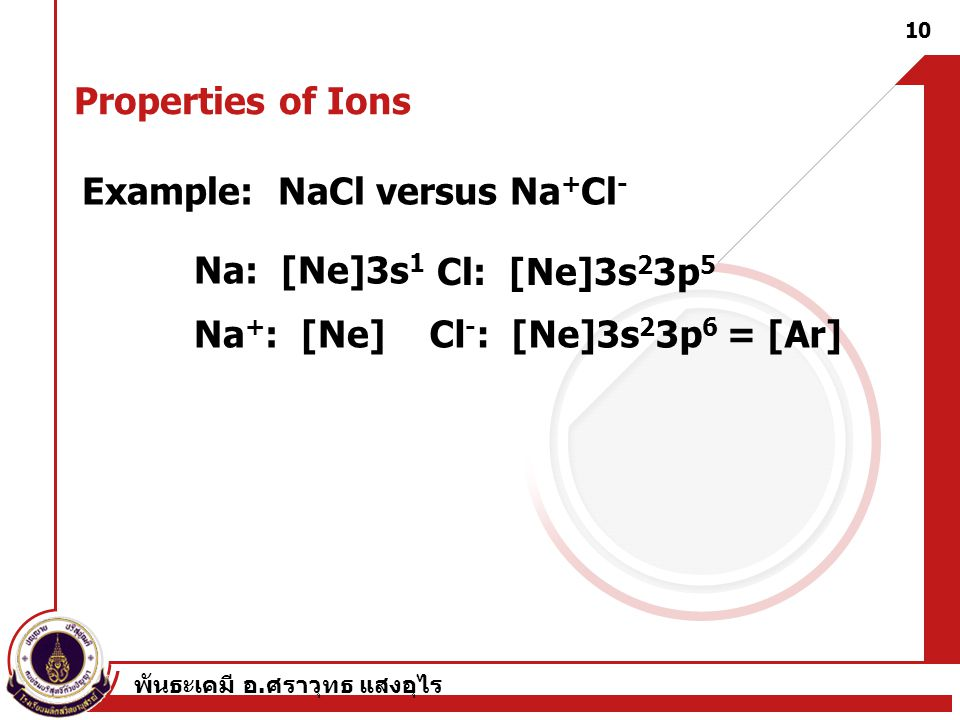Example: NaCl versus Na+Cl-
