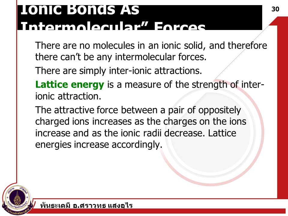 Ionic Bonds As Intermolecular Forces