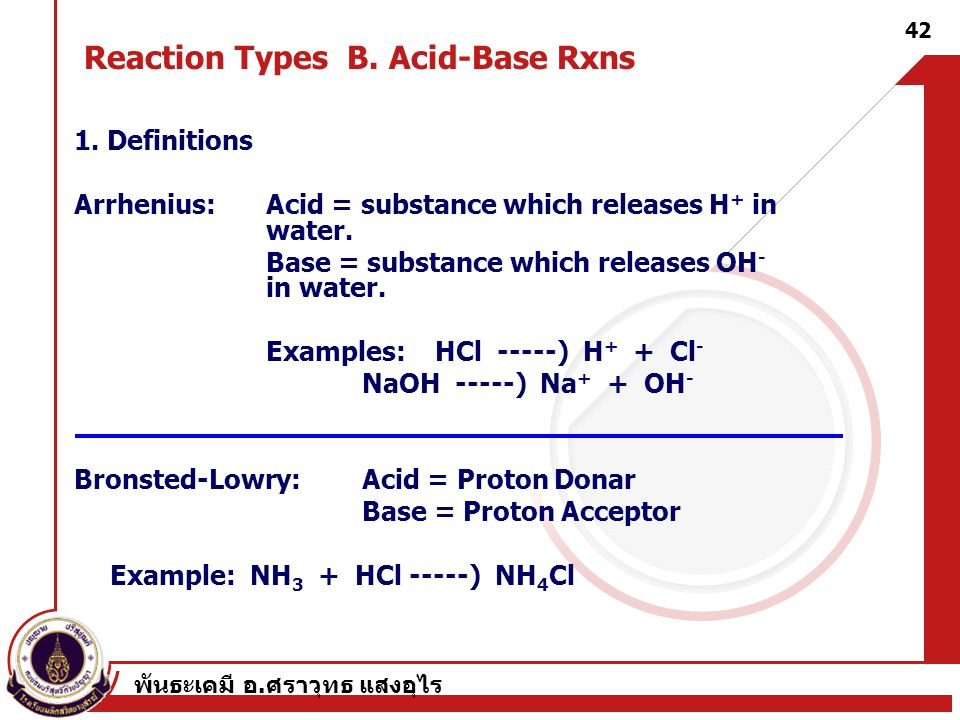 Reaction Types B. Acid-Base Rxns
