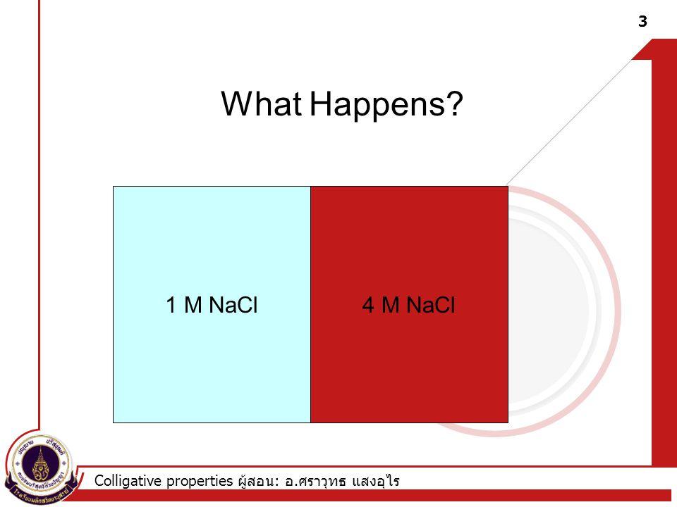 What Happens 1 M NaCl 4 M NaCl