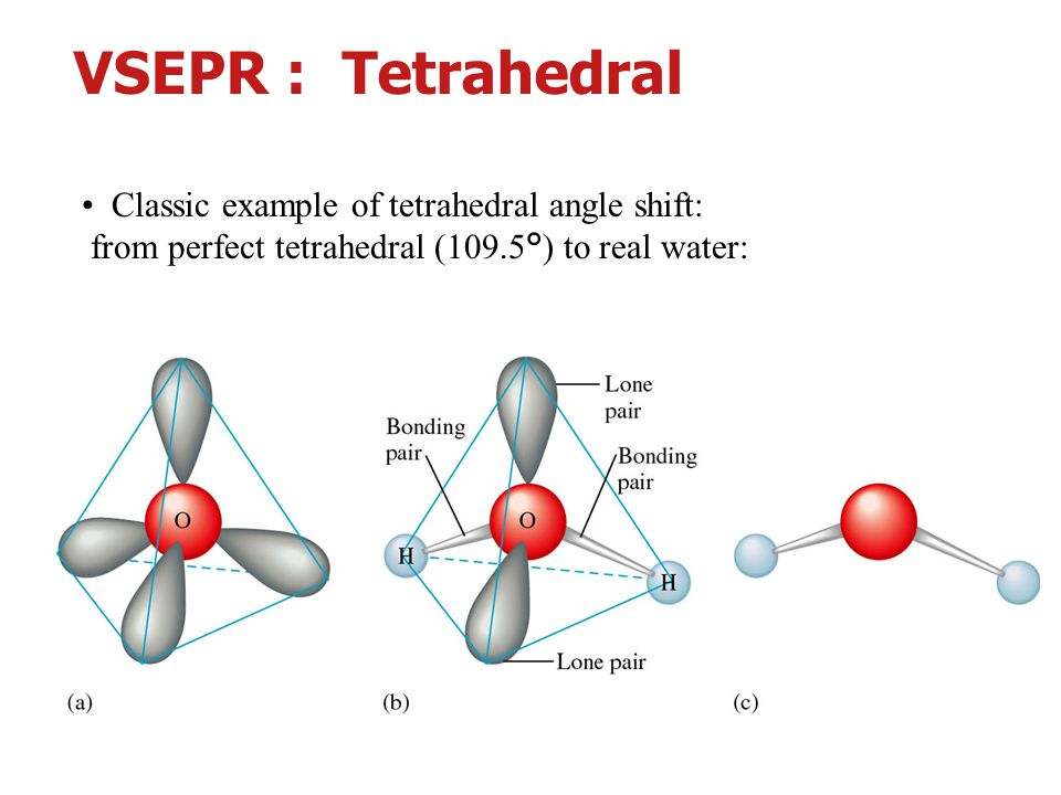 VSEPR : Tetrahedral • Classic example of tetrahedral angle shift: