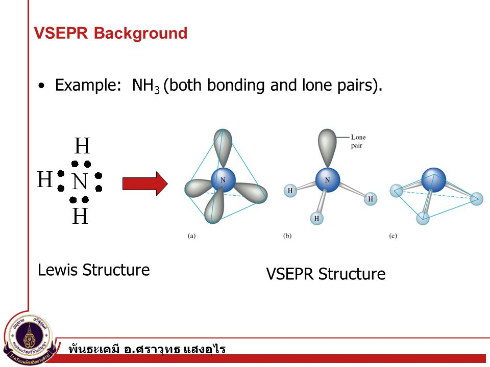 • Example: NH3 (both bonding and lone pairs).