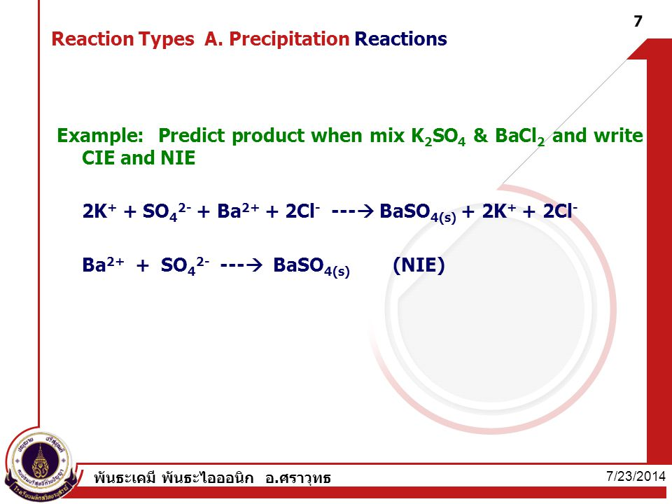 Reaction Types A. Precipitation Reactions