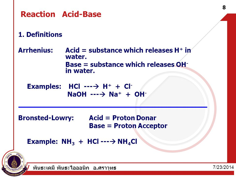 Reaction Acid-Base 1. Definitions