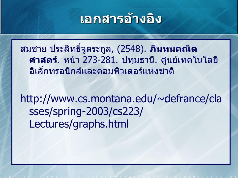 เอกสารอ้างอิง สมชาย ประสิทธิ์จูตระกูล, (2548). ภินทนคณิตศาสตร์. หน้า 273-281. ปทุมธานี. ศูนย์เทคโนโลยีอิเล็กทรอนิกส์และคอมพิวเตอร์แห่งชาติ