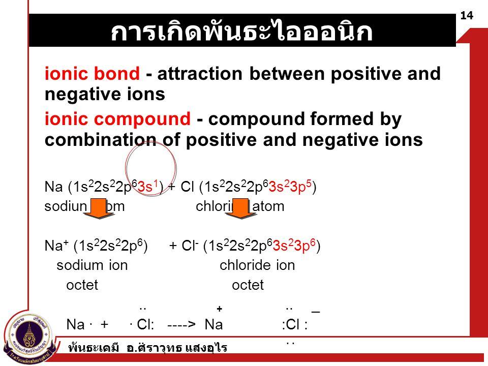 การเกิดพันธะไอออนิก ionic bond - attraction between positive and negative ions.