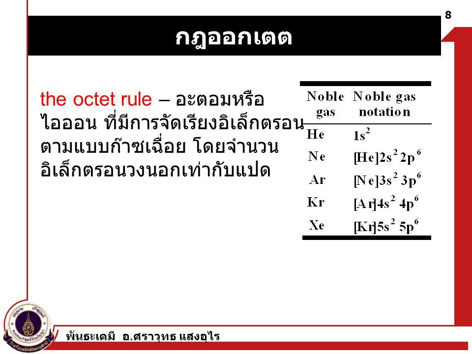 กฎออกเตต the octet rule – อะตอมหรือไอออน ที่มีการจัดเรียงอิเล็กตรอนตามแบบก๊าซเฉื่อย โดยจำนวนอิเล็กตรอนวงนอกเท่ากับแปด.