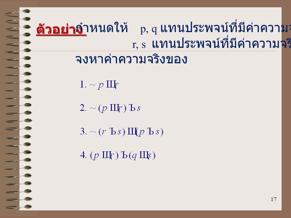 ตัวอย่าง กำหนดให้ p, q แทนประพจน์ที่มีค่าความจริงเป็นจริง. r, s แทนประพจน์ที่มีค่าความจริงเป็นเท็จ.