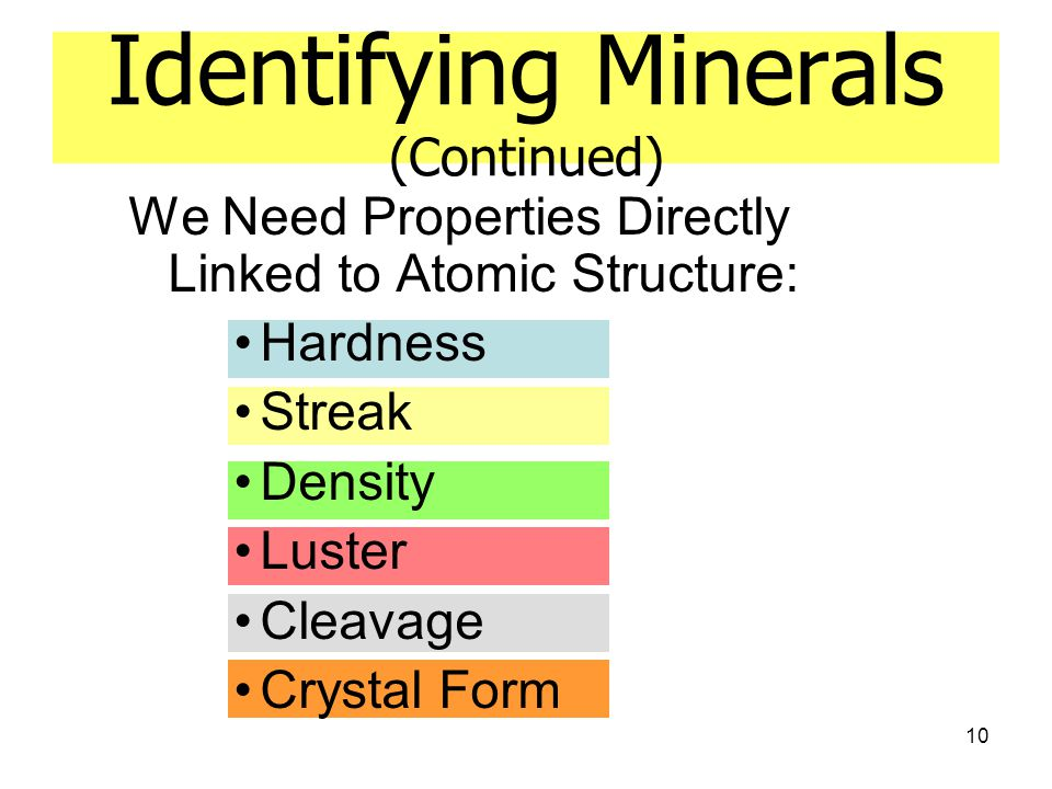 Identifying Minerals (Continued)