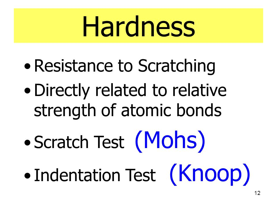 Hardness Resistance to Scratching
