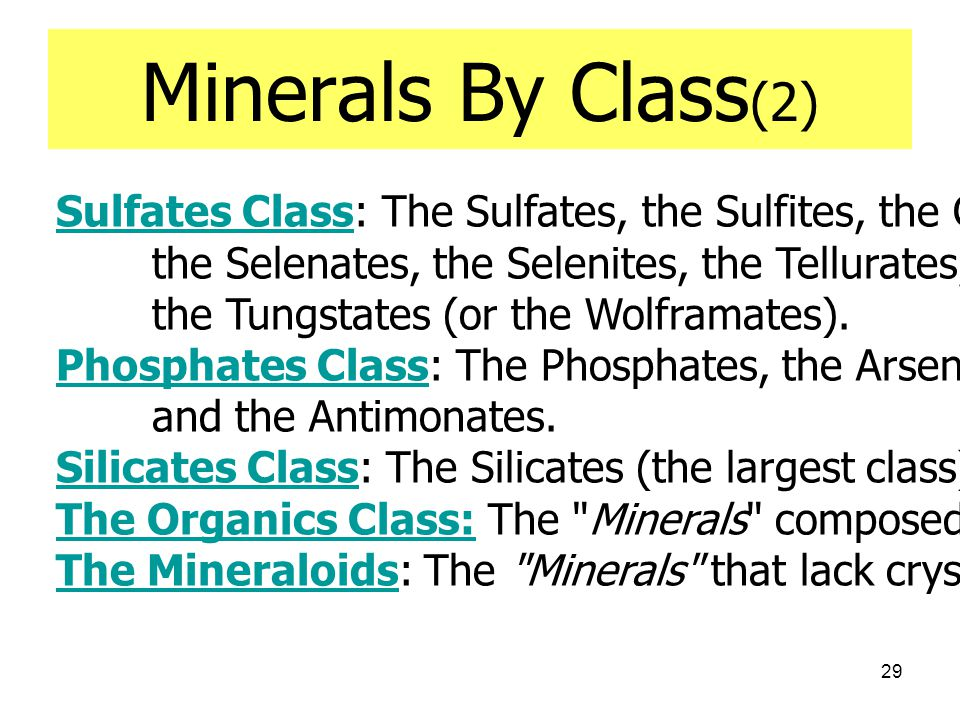 Minerals By Class(2) Sulfates Class: The Sulfates, the Sulfites, the Chromates, the Molybdates,