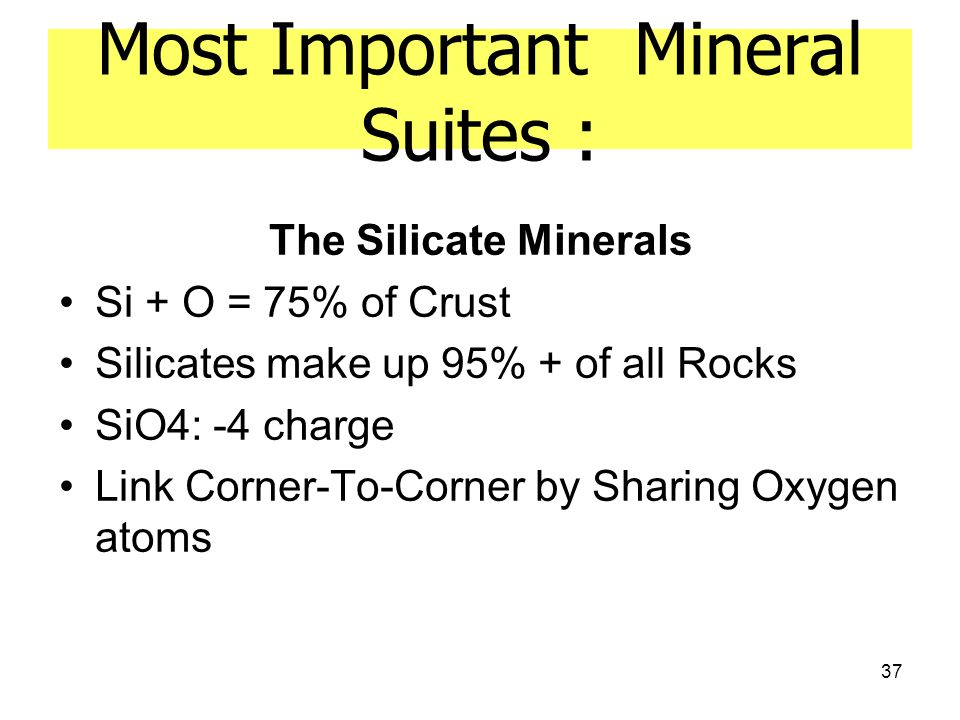 Most Important Mineral Suites :