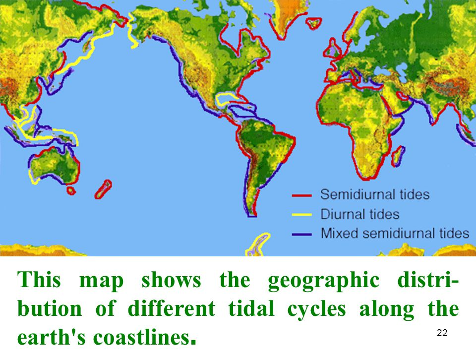 This map shows the geographic distri-bution of different tidal cycles along the earth s coastlines.