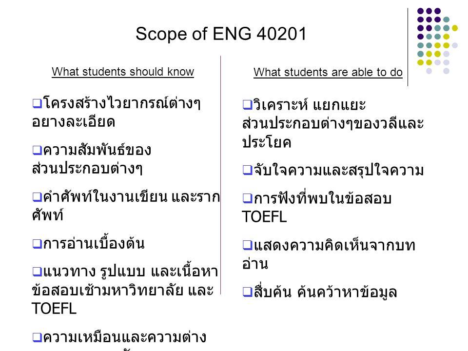 Scope of ENG 40201 โครงสร้างไวยากรณ์ต่างๆ อยางละเอียด