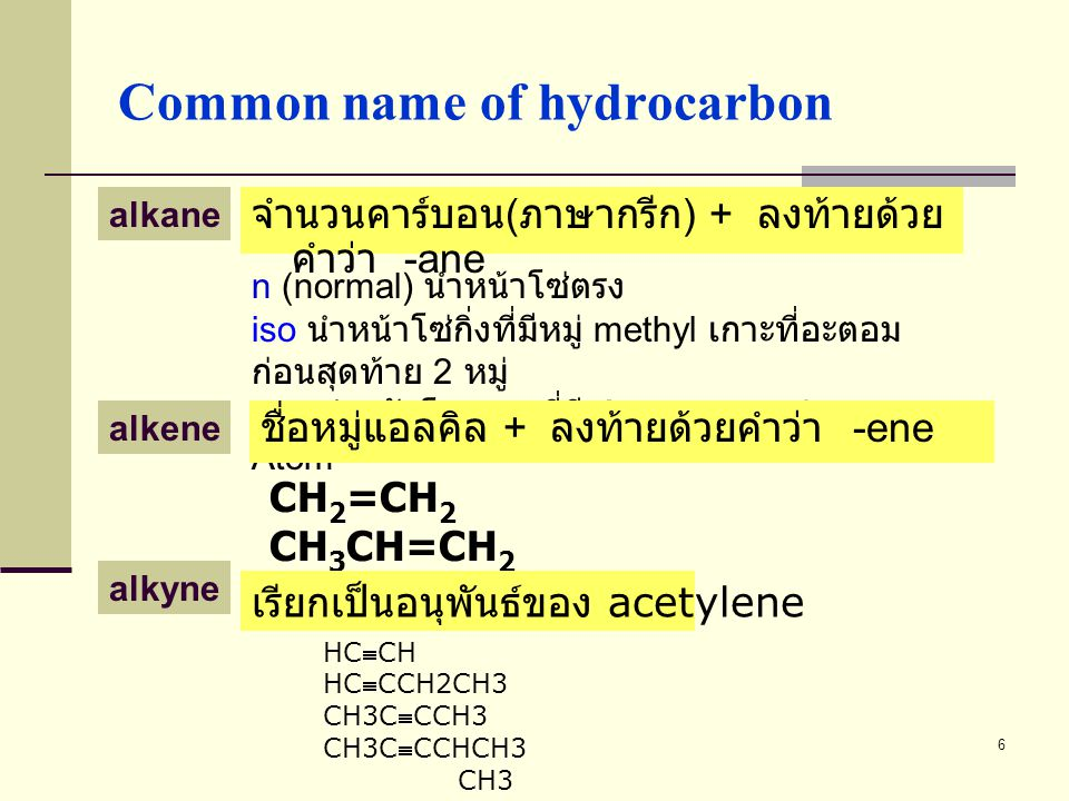 Common name of hydrocarbon
