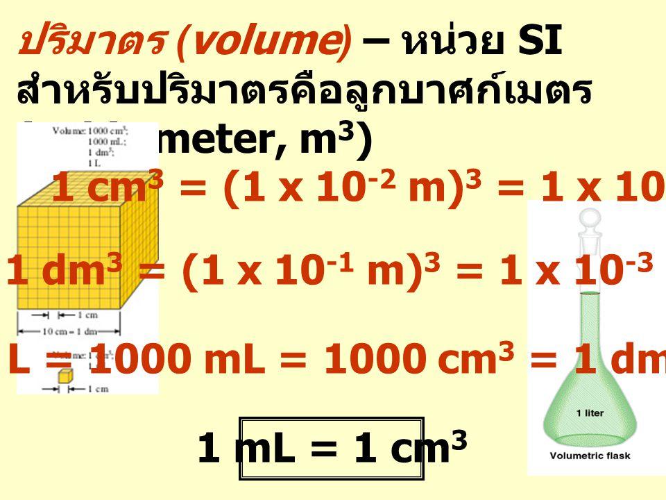 ปริมาตร (volume) – หน่วย SI สำหรับปริมาตรคือลูกบาศก์เมตร (cubic meter, m3)