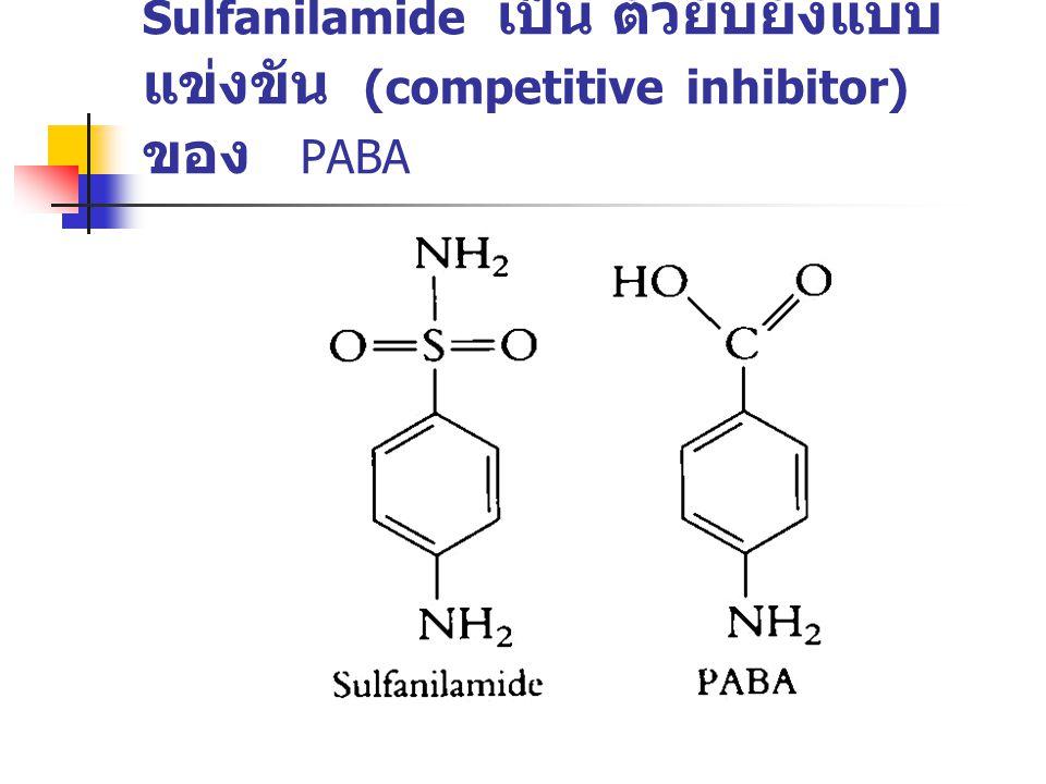 Sulfanilamide เป็น ตัวยับยั้งแบบแข่งขัน (competitive inhibitor) ของ PABA