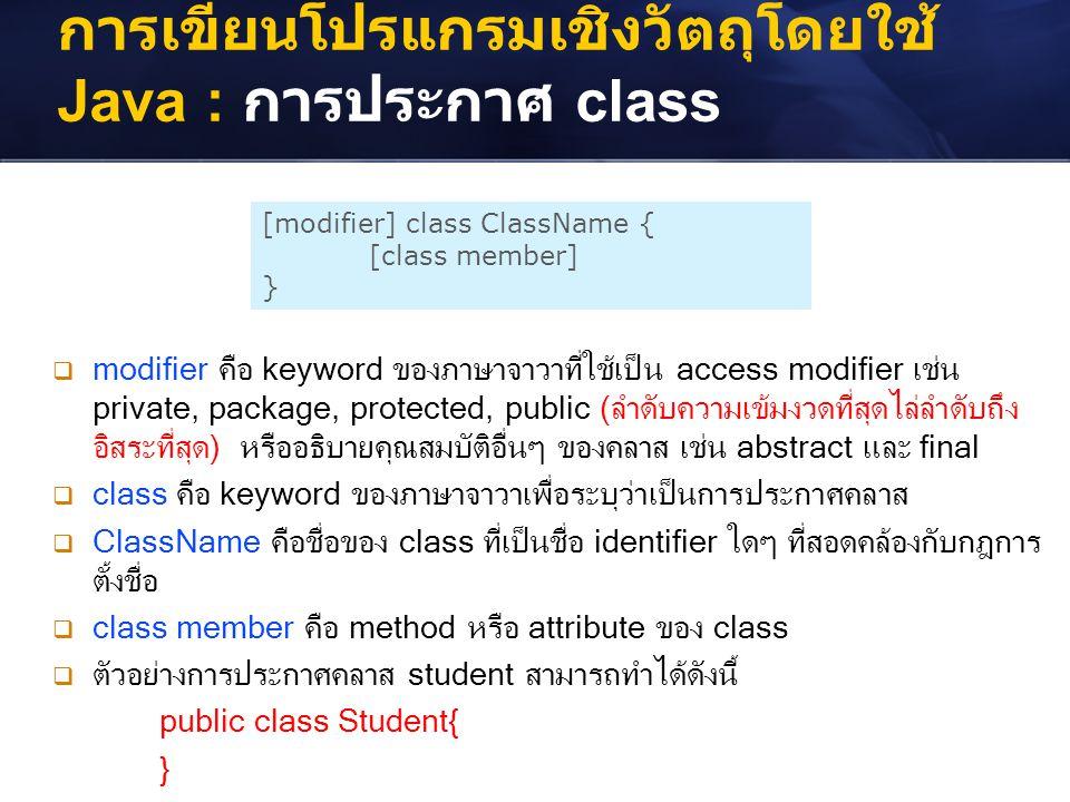 การเขียนโปรแกรมเชิงวัตถุโดยใช้ Java : การประกาศ class