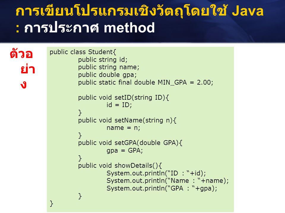 การเขียนโปรแกรมเชิงวัตถุโดยใช้ Java : การประกาศ method