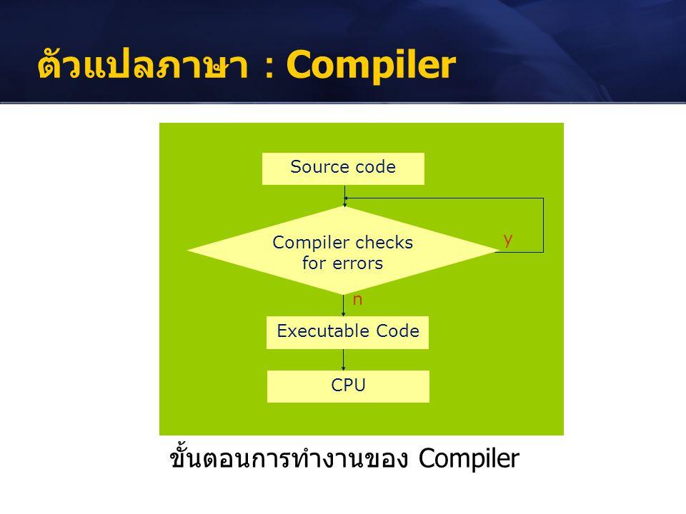 ตัวแปลภาษา : Compiler ขั้นตอนการทำงานของ Compiler Source code