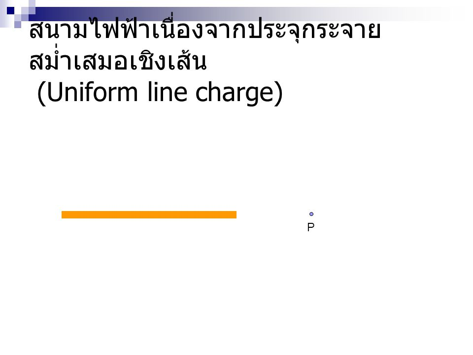 สนามไฟฟ้าเนื่องจากประจุกระจายสม่ำเสมอเชิงเส้น (Uniform line charge)