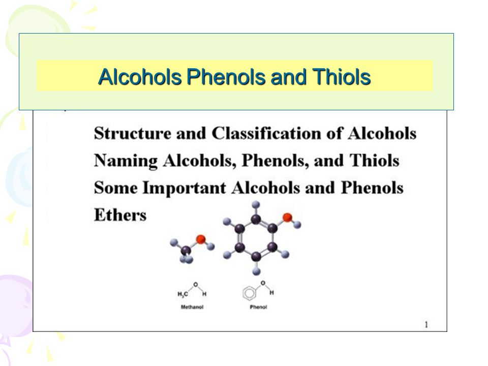 Alcohols Phenols and Thiols