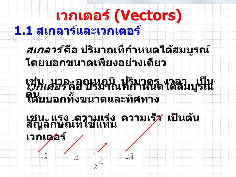 เวกเตอร์ (Vectors) 1.1 สเกลาร์และเวกเตอร์