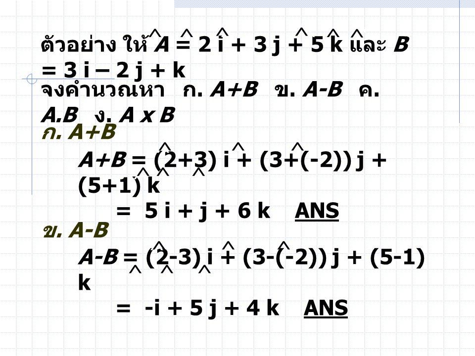 ^ ^ ^ ^ ^ ^ ^ ^ ^ ตัวอย่าง ให้ A = 2 i + 3 j + 5 k และ B = 3 i – 2 j + k. จงคำนวณหา ก. A+B ข. A-B ค. A.B ง. A x B.