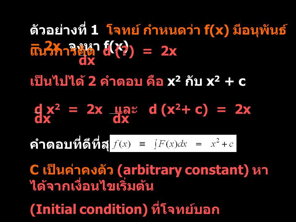 ตัวอย่างที่ 1 โจทย์ กำหนดว่า f(x) มีอนุพันธ์ = 2x จงหา f(x)