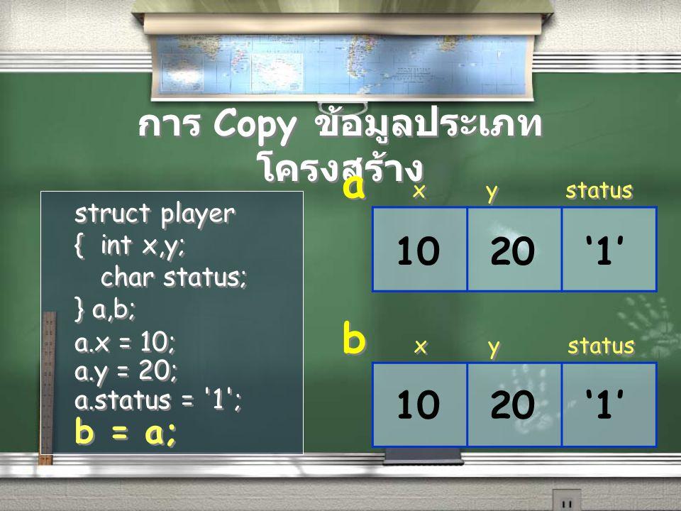 การ Copy ข้อมูลประเภทโครงสร้าง
