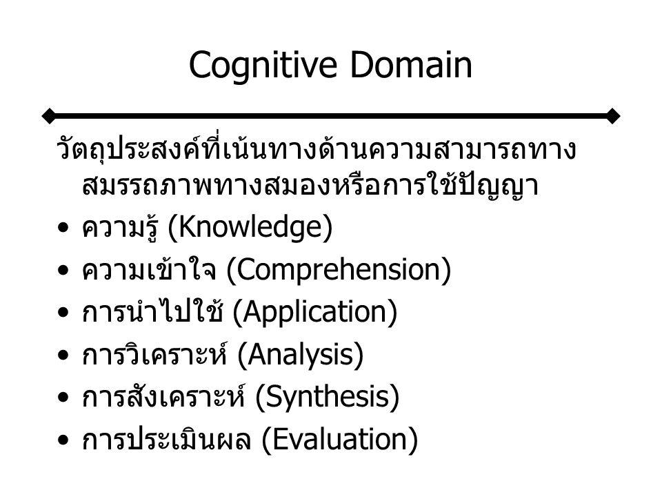 Cognitive Domain วัตถุประสงค์ที่เน้นทางด้านความสามารถทางสมรรถภาพทางสมองหรือการใช้ปัญญา. ความรู้ (Knowledge)