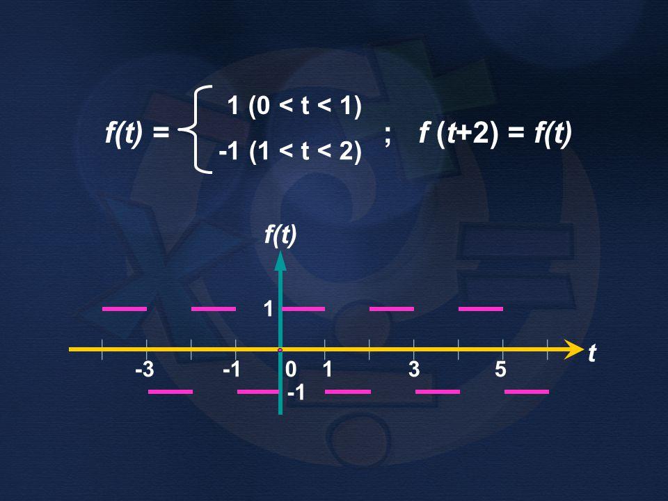 f(t) = ; f (t+2) = f(t) 1 (0 < t < 1) -1 (1 < t < 2) f(t)