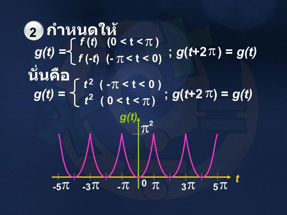 กำหนดให้ นั่นคือ g(t) = ; g(t+2 ) = g(t) g(t) = ; g(t+2 ) = g(t)