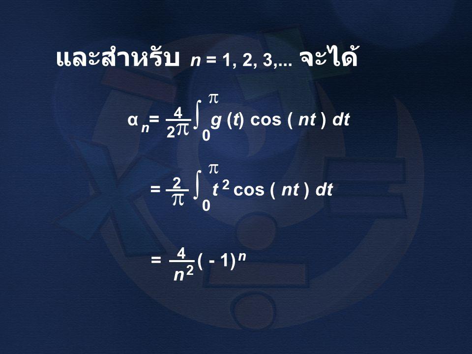 ∫ และสำหรับ n = 1, 2, 3,... จะได้ α = g (t) cos ( nt ) dt