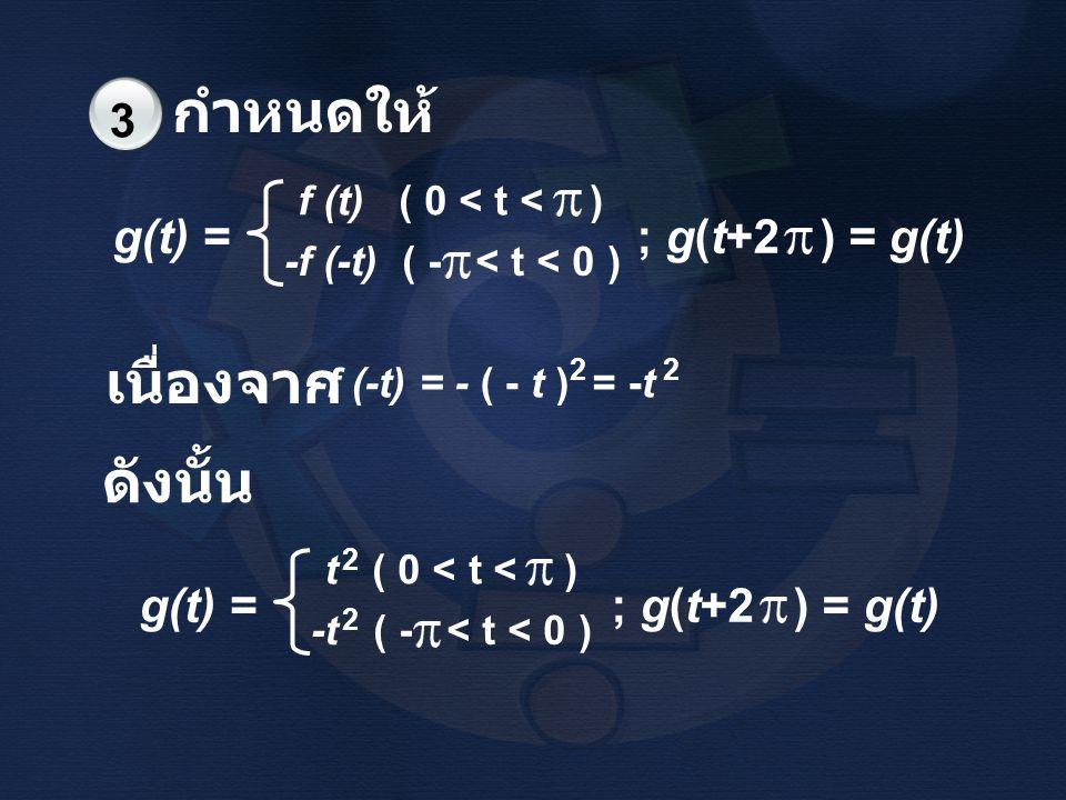 กำหนดให้ เนื่องจาก ดังนั้น 3 g(t) = ; g(t+2 ) = g(t)