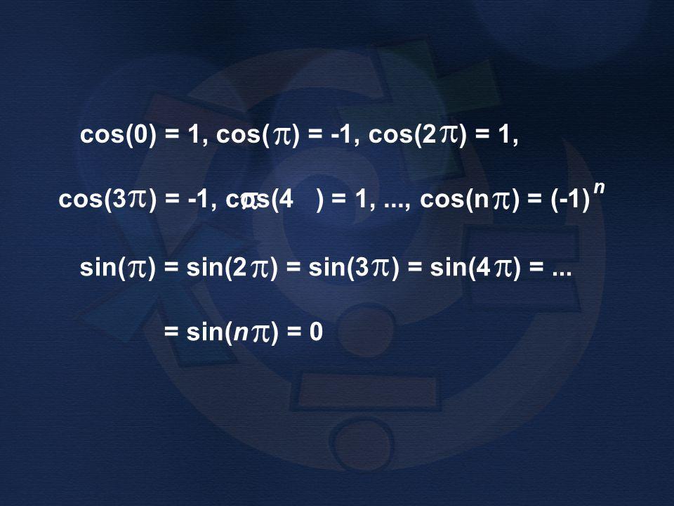 cos(3 ) = -1, cos(4 ) = 1, ..., cos(n ) = (-1)