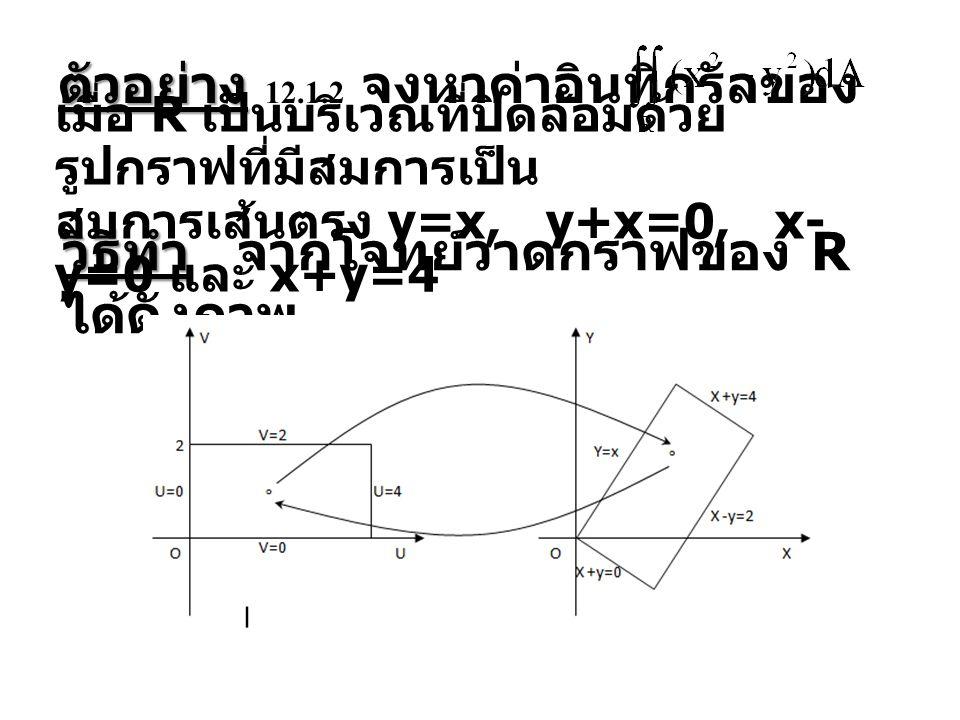 ตัวอย่าง 12.1.2 จงหาค่าอินทิกรัลของ
