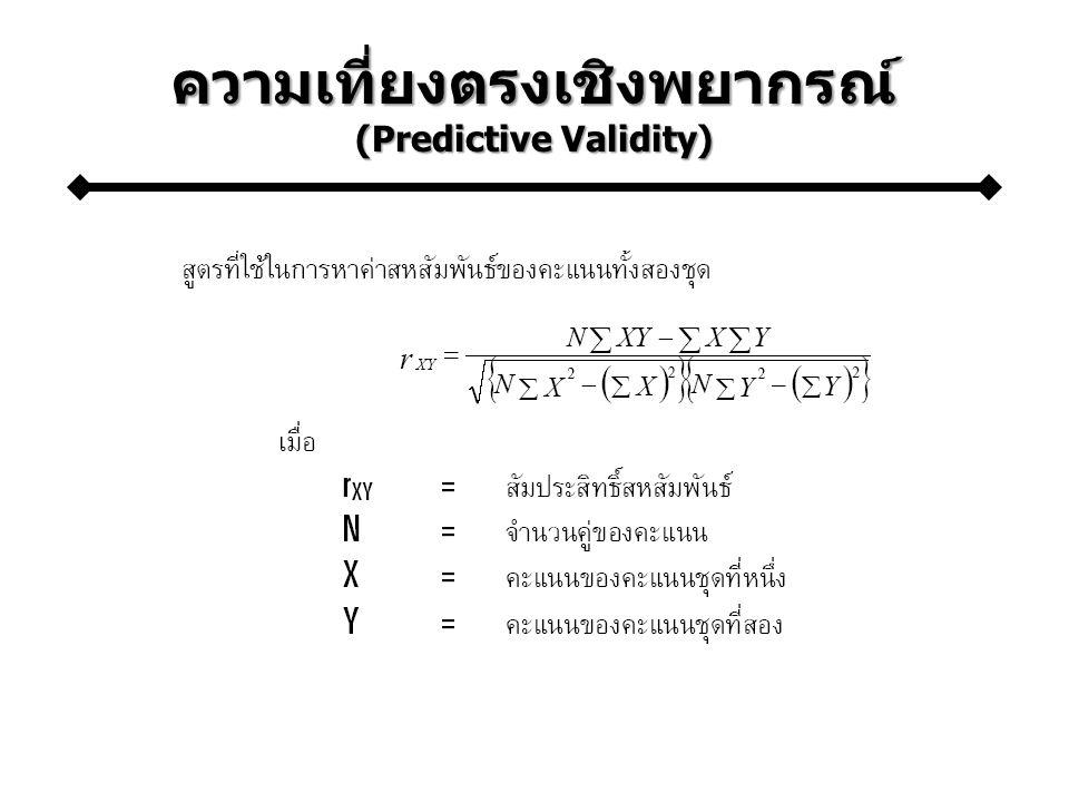 ความเที่ยงตรงเชิงพยากรณ์ (Predictive Validity)