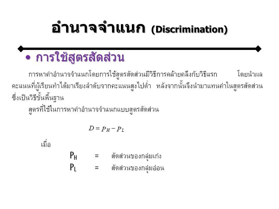 อำนาจจำแนก (Discrimination)